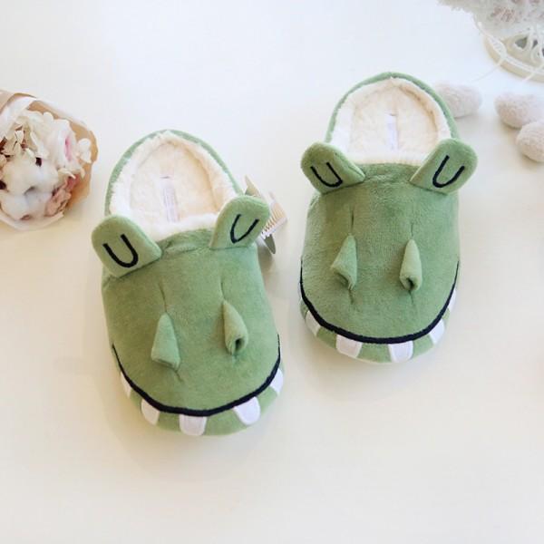 Women's House Slippers Fuzzy Crocodile Animal Slippers