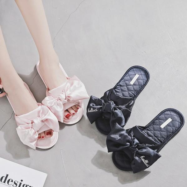 Elegant Silk Womens Slippers with Bow Memory Foam Ladies Slippers