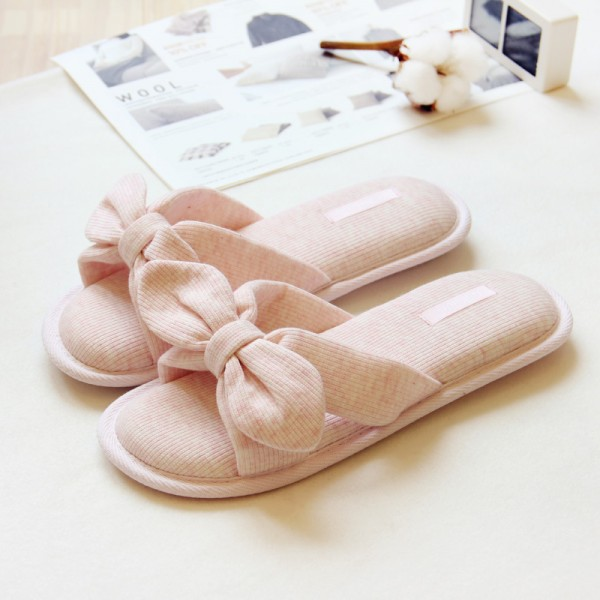 Cute Women's Slippers with Bow Open Toe Pink Slides