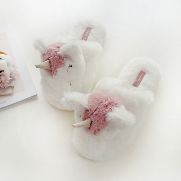 Cute Unicorn Slippers White Fuzzy Womens House Slippers