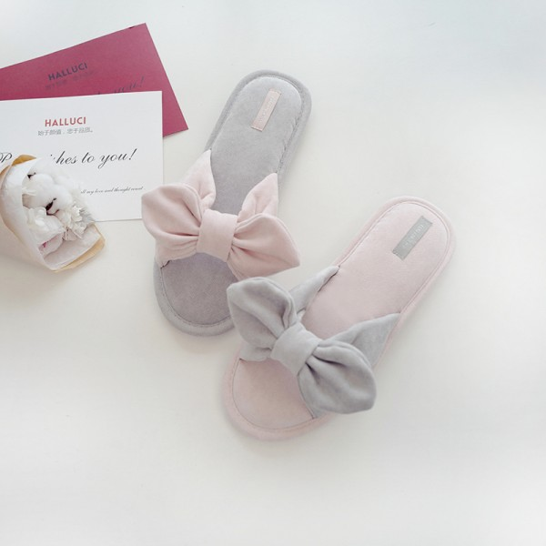 Cute Women's House Slippers with Bow Cotton Slippers for Girls