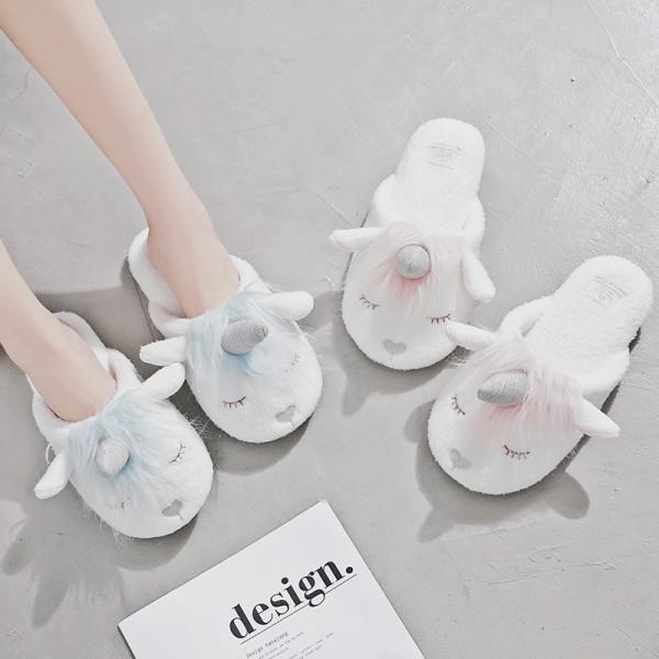 Cozy Fleece Unicorn Slippers Womens Slip-On House Shoes