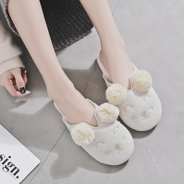 Comfy Womens House Scuff Slippers Tassel Pom Pom Sheep Slippers