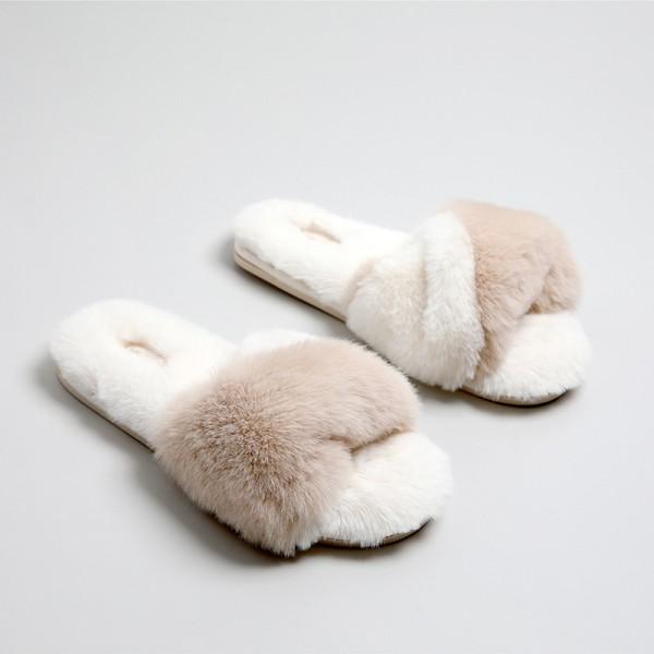 New Womens Fuzzy Slippers Open Toe Fluffy Sheepskin Slides for Ladies