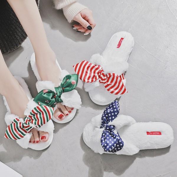Women's Americana Slippers Fuzzy Plush Open Toe Slides for Ladies