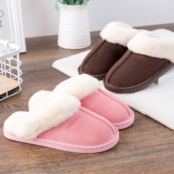 Womens Fluffy Slipper Warm Plush Suede House Scuff Slippers