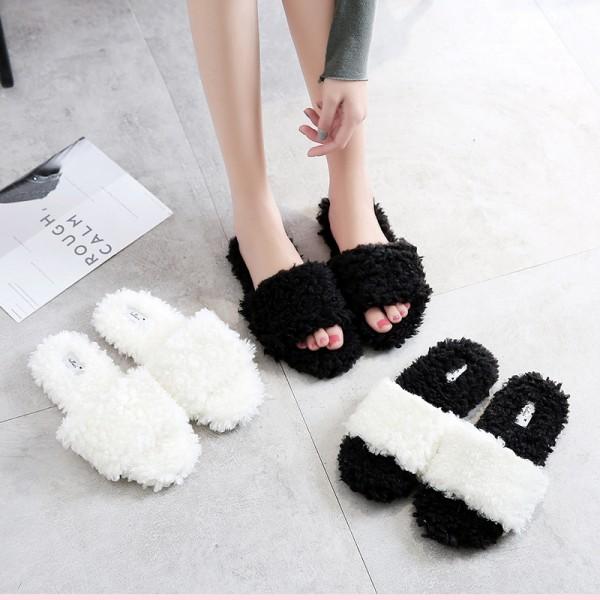 Cozy Womens Slippers Open Toe Indoor Outdoor Fuzzy Slides