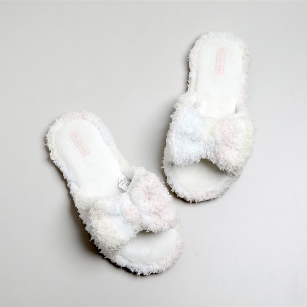 Cute Womens Fleece Slippers with Bow Open Toe Slides for Ladies