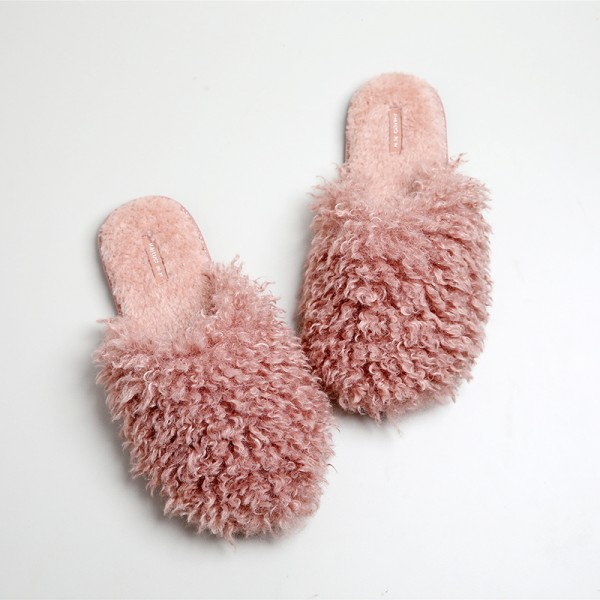 Comfy Womens Fluff Slippers Open Heel House Shoes For Girls