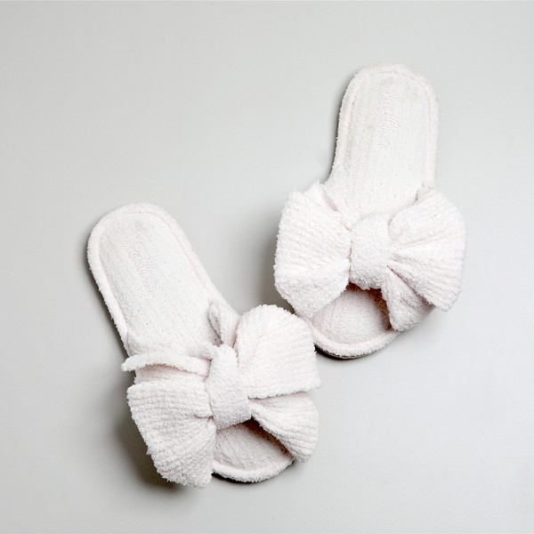 Womens House Slippers with Bow Ladies Soft Knit Microfiber Slides