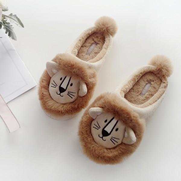 Cute Womens Lion Slippers Hoodback Fuzzy House Slippers
