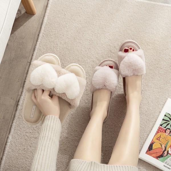 Fuzzy House Slippers for Women Bedroom Open Toe Slippers