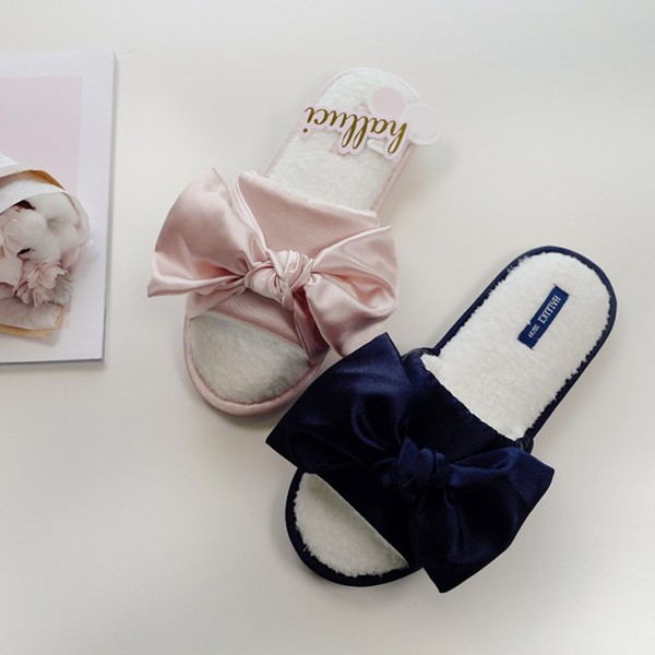 Elegant Womens House Slippers with Bow Fuzzy Ladies Slides