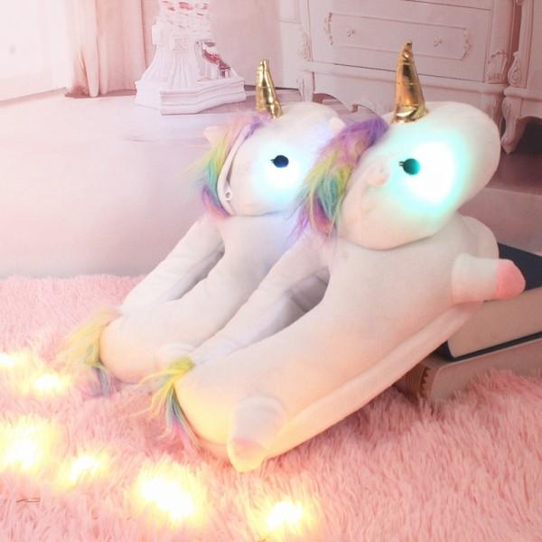 Light Up Unicorn Slipper Unisex Neon Animal House Shoes