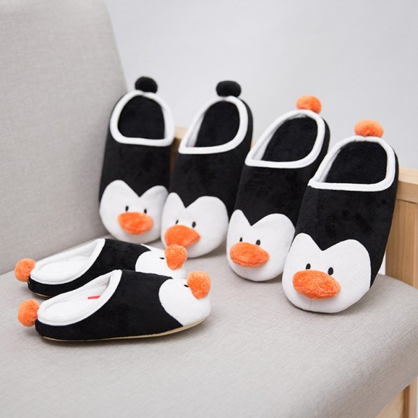 Womens Black Penguin Slippers Closed Toe House Slippers with Pom Pom
