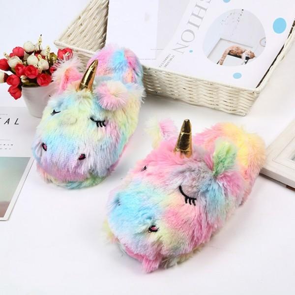 Womens Unicorn Slippers Open Heel Cozy House Fuzzy Rainbow Slippers