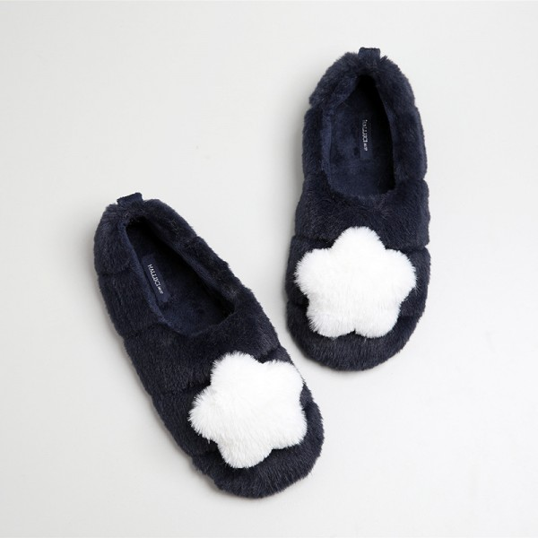 Fuzzy Womens House Slippers Dark Navy Ballerina Slippers Decorated with Star