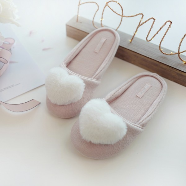 Pink Womens Slippers with Heart Shape Embellishment House Scuffs for Ladies