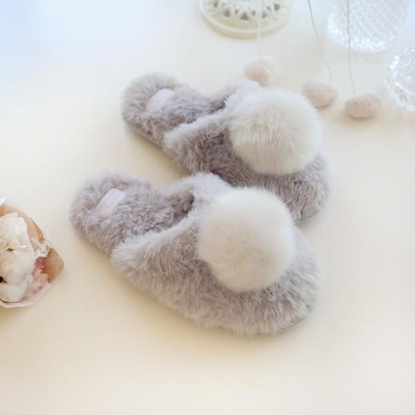Gray Fuzzy Womens Scuffs Faux Cony Hair Pom Pom House Slippers for Ladies