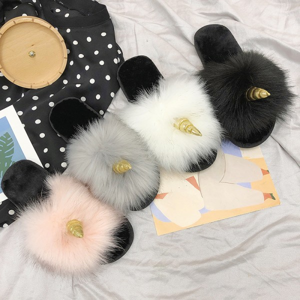 Fuzzy Womens Slippers Plush Unicorn Slides for Ladies