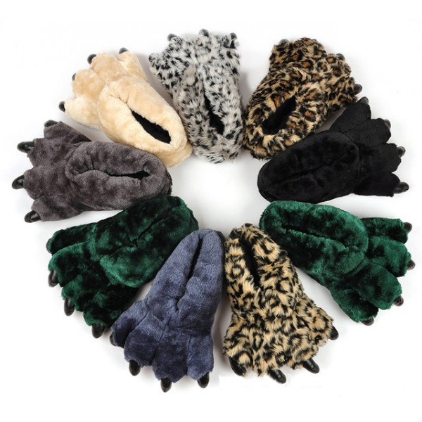 Bear Paw Slippers for Adults Leopard Print Bear Feet Slippers