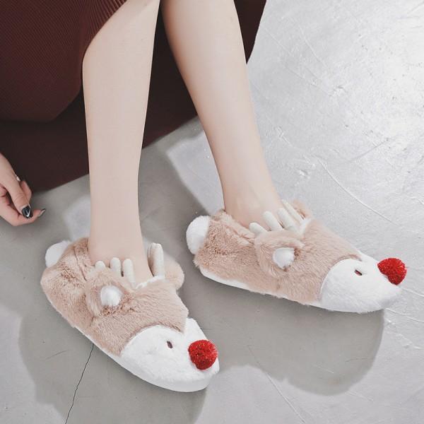 Cute Reindeer Christmas Slippers for Women Fuzzy Ballerina Slippers