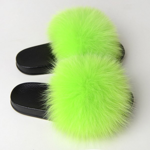 Neon Green Fur Slides Women's Fluffy Fur Slippers