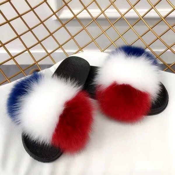 Women's Fur Slides Colorful Furry Slippers
