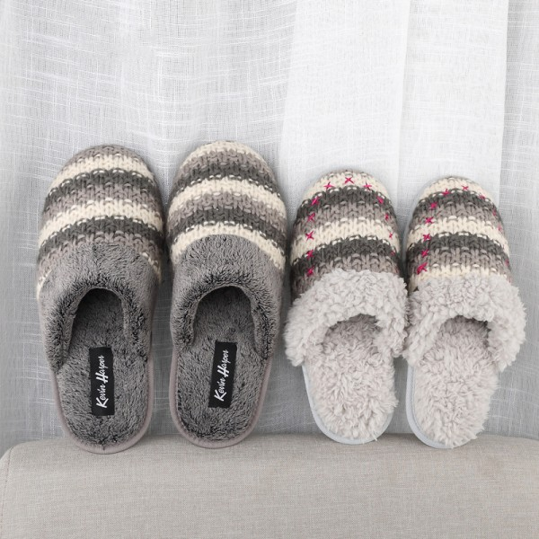 Cozy Womens House Slippers Couple Winter Knitted Scuffs