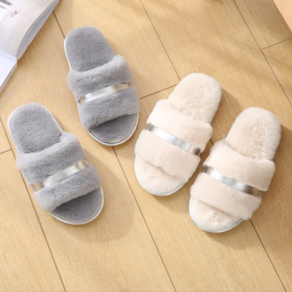 Fluffy Womens Slippers Open Toe Warm House Slippers