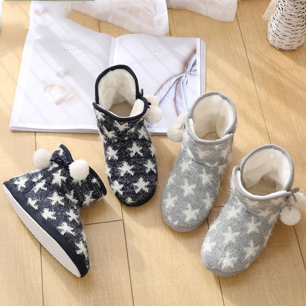 Cute Womens Bootie Slippers with Pom Pom Warm Up Quilted Slipper Shoes
