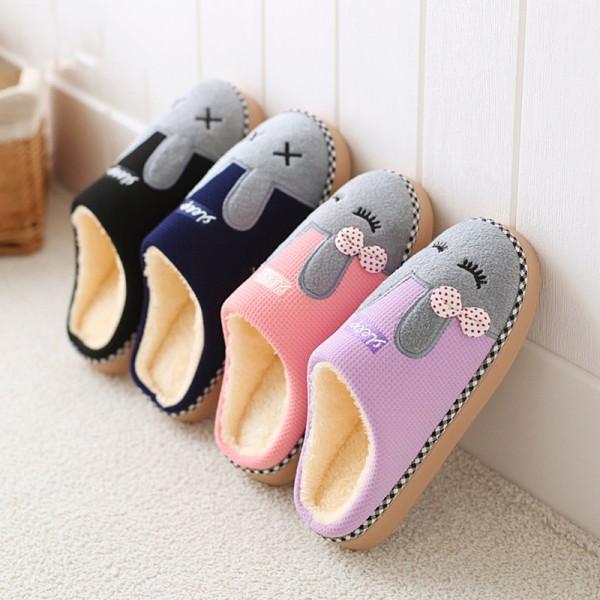 Cute Womens Bunny Slippers Cozy Hoodback House Slipper Shoes