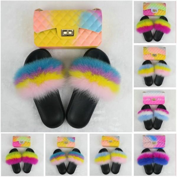 Colorful Women's Fur Slides with Matching Ombre Shoulder Bag Set