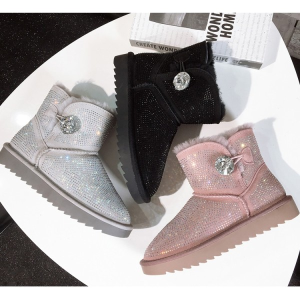 Shiny Women's Rhinestone Boots Shearling Winter Ankle Boots
