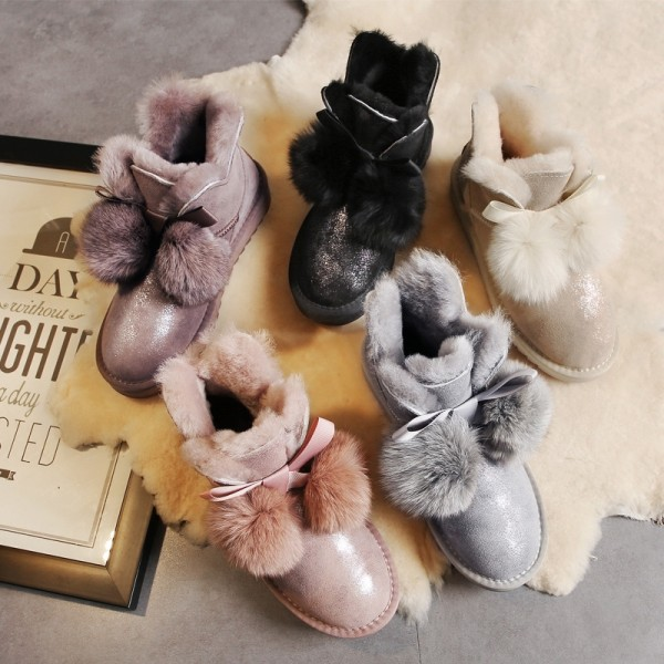Shiny Women's Ankle Boots with Fur Pom Pom Balls Winter Shearling Booties