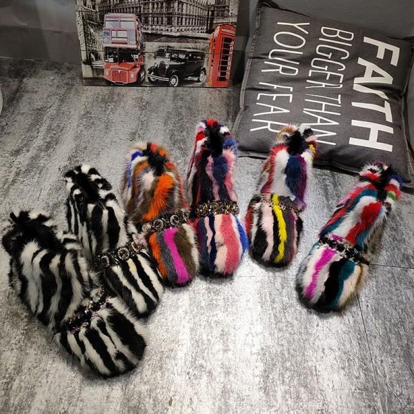 Glamorous Faux Fur Boots with Rhinestones Embellishment Rainbow Women's Yeti Boots