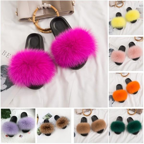 Colorful Fox Fur Slides Women's Fashion Summer Furry Slides