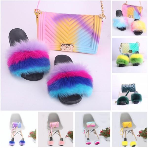 Rainbow Fur Slides with Matching Jelly Handbags Cute Fur Sandals