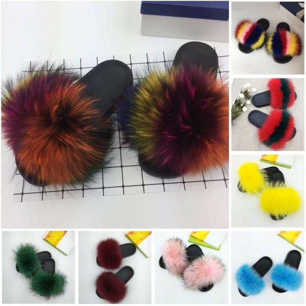 Chic Rainbow Fur Slides Rainbow Big Fur Sandals