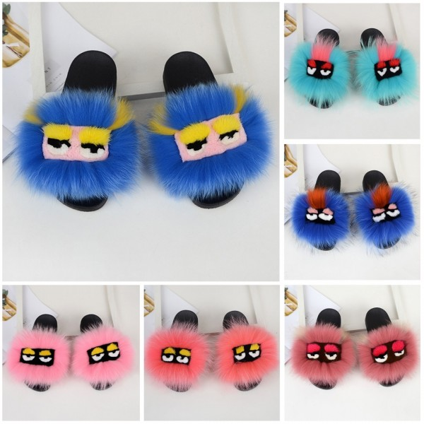 Cute Bird Furry Slides Pink Women's Fur Slide Sandals