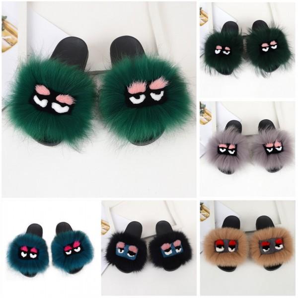 Cute Bird Fur Slides Black Fluffy Slide Sandals