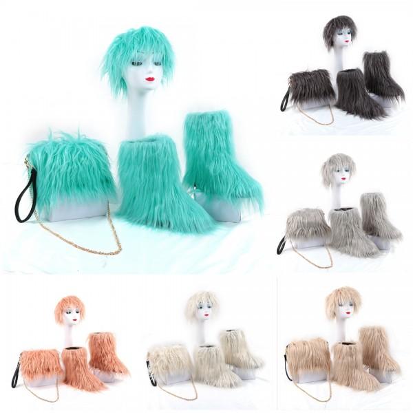 Solid Color Faux Fur Boots with Matching Fur Headband Shoulder Bag Set