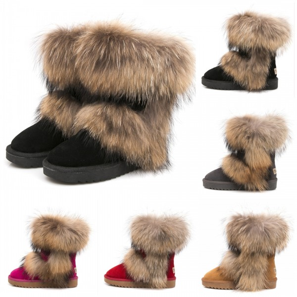 Luxury Short Fluffy Fur Boots Women's Suede Ankle Boots