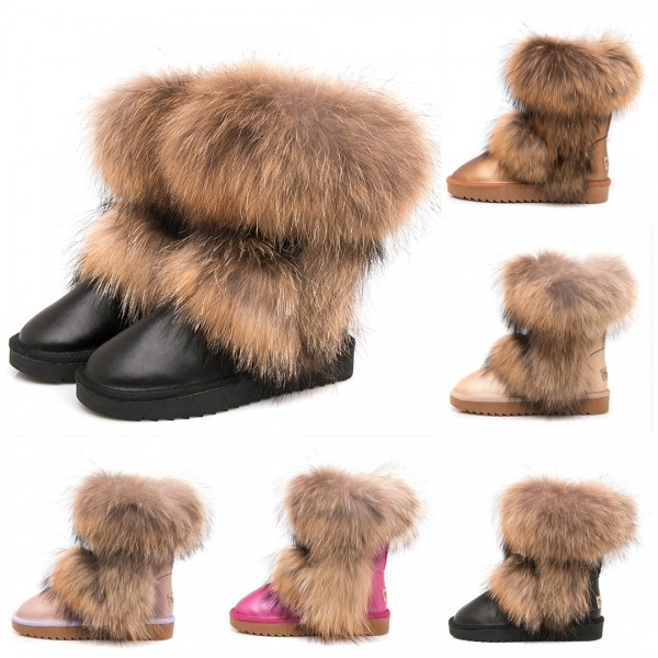 Glossy Leather Fur Boots for Women Waterproof Winter Ankle Booties