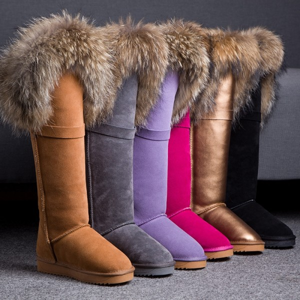 Chic Women's Knee High Boots with Fur Trim Winter Flat Tall Suede Boots