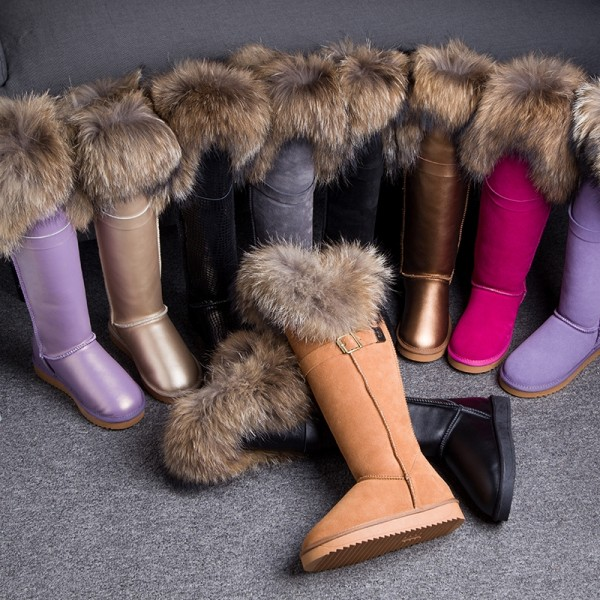 Luxury Women's Tall Boots with Fur Toppers Winter Leather Over the Knee Boots