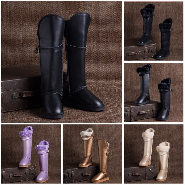Glossy Leather Knee High Boots Waterproof Winter Tall Boots