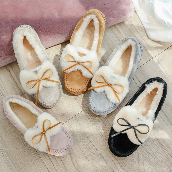 Winter Shearling-Lined Moccasin Slippers for Women Suede Moccasins with Tie