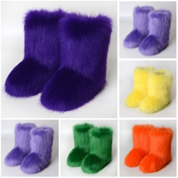 Solid Color Faux Fur Boots Winter Short Furry Booties