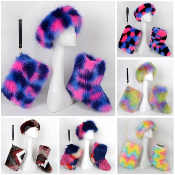 Amazing Winter Faux Fur Boots with Fur Headband and Bag Set